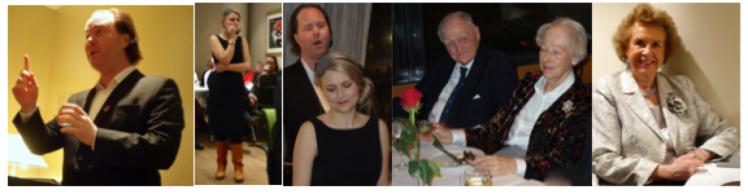 Kunstnere og fornøyd publikum.  Fra venstre: Hallvard Djupvik, Lina Johnson, Lina og Hallvar, Thor Bang med følge  og Berit Bøthun